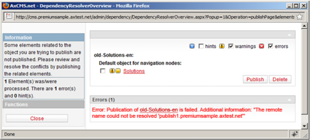 Better error diagnostics on publishing