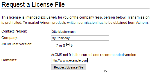 AxCMS.net License Request Form